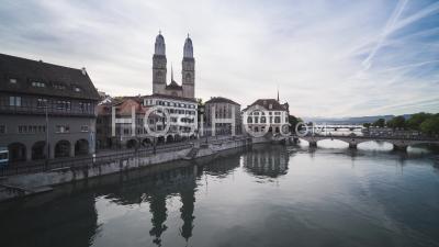Great Grossmunster, Aerial View Shot Of Zurich, Switzerland - Video Drone Footage