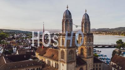 Great Grossmunster, Aerial View Shot Of Zurich, Switzerland - Video Drone Footage