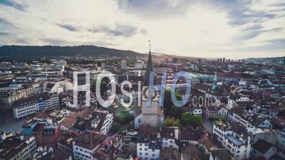 Aerial View Shot Of Zurich, Great Old Town, Switzerland - Video Drone Footage
