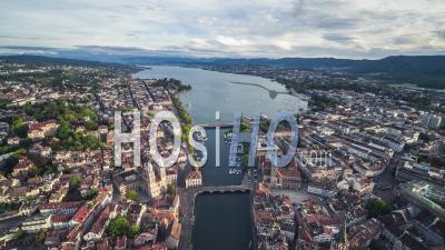 Aerial View Shot Of Zurich, Wide Establishing, Old Town, Switzerland - Video Drone Footage