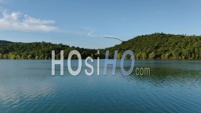 Aerial View Of The Lake Of Saint Cassien In The Morning Grazing Light, Seen By Drone