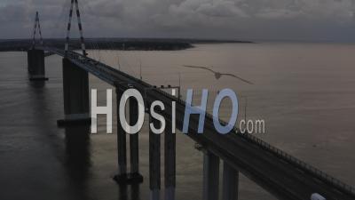 Saint Nazaire Bridge At Sunset In Loire Atlantique France - Video Drone Footage