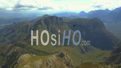 Mountainous Area With Clouds In The Background In South Africa - Video Drone Footage