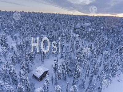 Small Village Settlement Inside The Arctic Circle In Finnish Lapland, Finland Drone