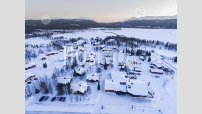 Aerial Drone Photo Of Akaslompolo Town Inside The Arctic Circle In Finnish Lapland, Finland