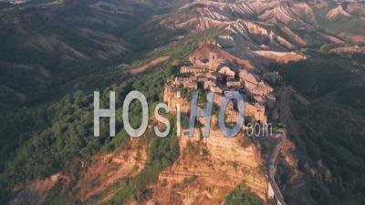 Civita Di Bagnoregio, A Hilltop Town In Province Of Viterbo, Italy. Aerial Drone View
