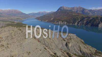Aerial View Of The Lac De Serre-Poncon Lake And Mountains, French Alps, France – By Drone