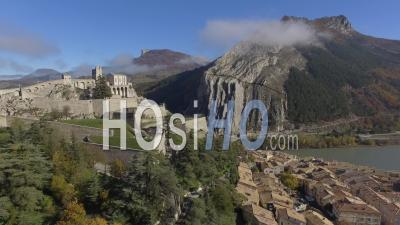 Citadel Of Sisteron And The River Durance, Provence-Alpes-Cote D''azur, France – Aerial View By Drone'