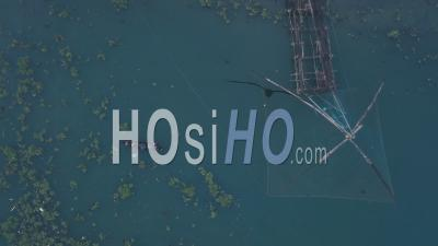 Traditional Chinese Fishing Nets And Fishing Boat At Fort Kochi, India. Top Down Aerial Drone View