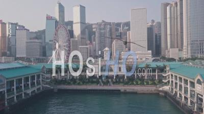 Hong Kong Central Ferry Terminal And Harbour Front. Aerial Drone View