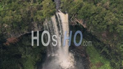 Chania Waterfall In Aberdare National Park, Kenya, Africa. Aerial Drone View