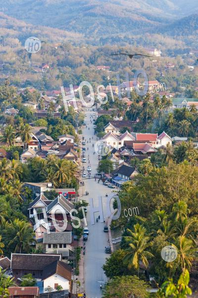 View Over Luang Prabang From Wat Phousi Temple, Laos, Southeast Asia