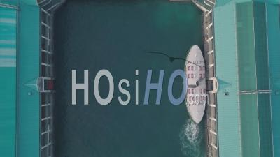 Hong Kong Star Ferry, Central Terminal And Harbour Front. Top Down Aerial Drone View