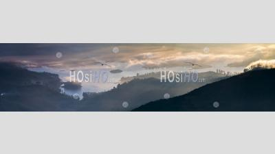 Adams Peak (sri Pada) View At Sunrise Showing The Maussakele Reservoir, Sri Lanka Central Highlands, Asia