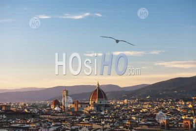 View Over Florence Cathedral At Sunset, Seen From Piazzale Michelangelo Hill, Tuscany, Italy