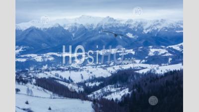 Carpathian Mountains Snowy Winter Landscape, Pestera, Bran, Transylvania, Romania