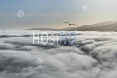 Clouds Cover Loch Lomond At Ben Lomond In The Trossachs National Park, Scottish Highlands, Scotland, United Kingdom, Europe