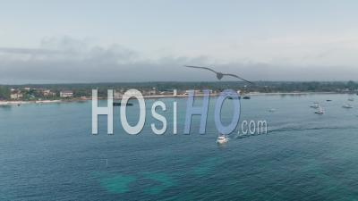 Deep Sea Fishing Boat At Sunrise At Watamu, Malindi, Kenya. Aerial Drone View