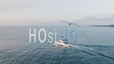 Deep Sea Fishing Boat In The Indian Ocean At Watamu, Malindi, Kenya. Aerial Drone View