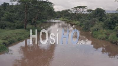 Vue Aérienne Par Drone Vue Du Paysage De Paysage De La Rivière Kenyan à Laikipia, Kenya