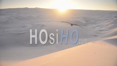 Panoramic Landscape View Of Desert Dunes, At Sunset, Peru