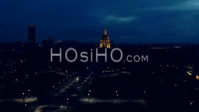 Aerial Footage Of Invalid Hotel At Night And Montparnasse Tower, Drone Point Of View, Paris, Ile De France,