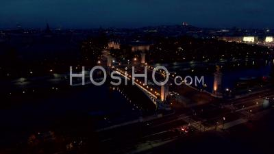 Aerial Footage Of Alexandre 3 Bridge, Illuminated, Seen From Drone