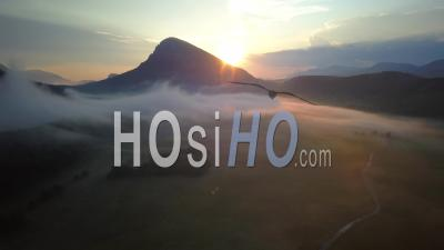Caille Andon Alpes Maritimes France Sunrise Fog Mountain Forest - Video Drone Footage