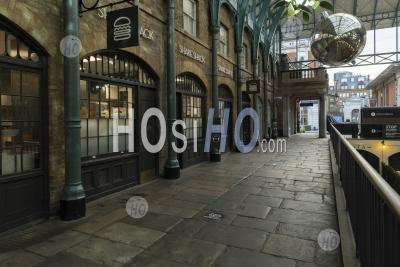 London In Coronavirus Lockdown At Covent Garden Market, With Empty Roads, Quiet Deserted Streets, No People And Closed Shops Shut In A Normally Popular Tourist Area During The Coronavirus Pandemic In England, Europe