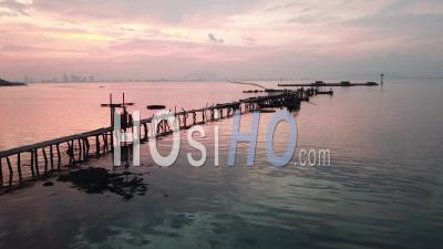 Aerial View Fisherman Jetty At Jelutong - Video Drone Footage