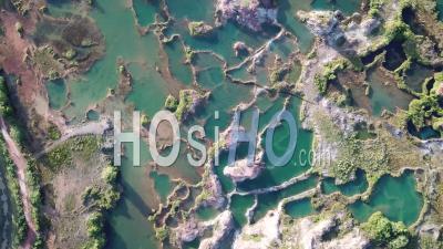 Aerial View Turquoise Lake At Guar Petai Also Called Jiuzaigou - Video Drone Footage