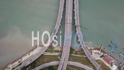 Aerial View Car Traffic Penang Bridge Highway - Video Drone Footage