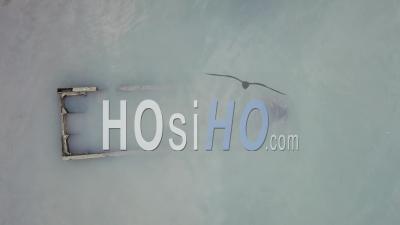 Sink Fisherman Boat At Coastal - Video Drone Footage