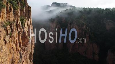 Gorge Du Blavet Var France Brouillard Matin Lever Du Soleil Big Cliff Red Rocks Printemps