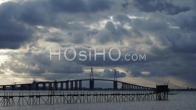 Time Lapse Saint Nazaire Bridge Loire Atlantique France Sunset Light Storm