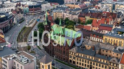 Library Of University Of Wroclaw, Old Town, Stare Miasto, Wroclaw - Video Drone Footage
