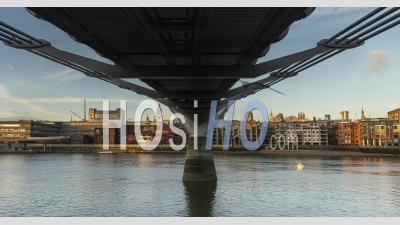 London Hyperlapse Timelapse, Hyper Lapse Time Lapse Of St Pauls Cathedral And Millennium Bridge, The Central London Iconic Landmark With Clear Blue Sky And River Thames In England, United Kingdom