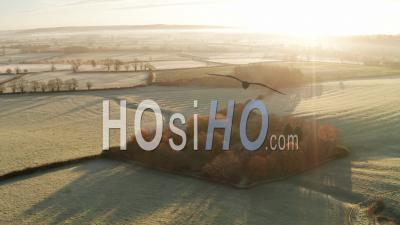 Aerial Drone Video Of Rural Countryside Landscape Scenery With Orange Autumn Trees And Green Fields In Farmland On A Farm With Typical Beautiful English Woods In The Cotswolds In Beautiful Sunrise Sunlight, England, United Kingdom