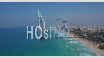 Burj Al Arab And Beach Of Al Qasr Hotel - Video Drone Footage