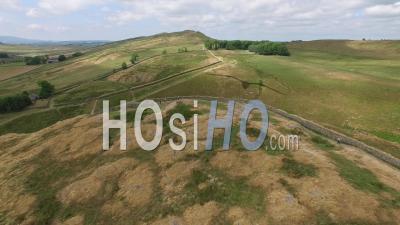 Aerial Establishing Shot Of Hadrian's Wall At Steel Rigg Northumberland England Uk - Video Drone Footage