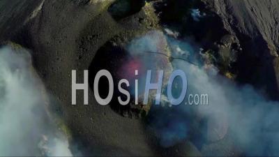 Explosion Filmed By Drone On Stromboli Volcano, Aeolian Islands, Italia