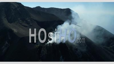 The Active Crater Of The Stromboli Volcano, Aeolian Islands, Italia - Video Drone Footage