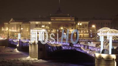 View Of The Palace Bridge In St. Petersburg In Winter - Video Drone Footage