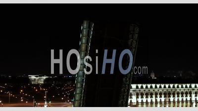 Trinity Bridge, Saint Petersburg Rise At Night - Video Drone Footage