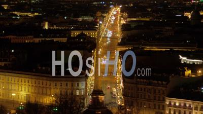View Of St. Petersburg At Night, Nevsky Prospect, Admiralty - Video Drone Footage
