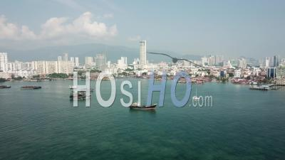 Ship Park Near Penang Clan Jetty - Video Drone Footage