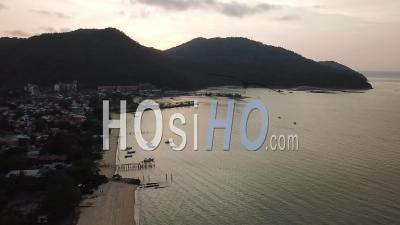 Aerial View Teluk Bahang Beach - Video Drone Footage