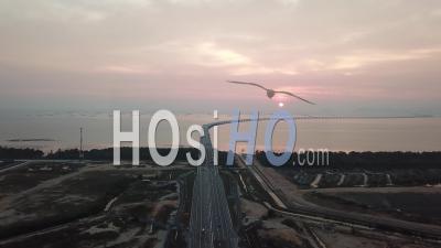 Aerial View Batu Kawan To Highway Penang Second Bridge - Video Drone Footage