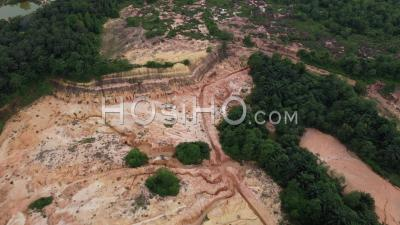 Red Soil At Hill Area Due To Land Clearing For Housing - Video Drone Footage