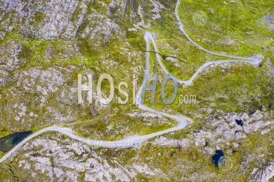 Aerial View Of Bealach Na Ba Pass On Applecross Peninsula In Wester Ross, Scotland, Uk - Aerial Photography